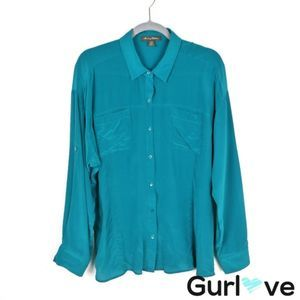 Tommy Bahama Size L Teal Silk Button Shirt